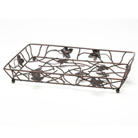 Elite Global Solutions WB12182 18 inch x 12 inch Antique Copper Rectangular Metal Leaf Wire Basket