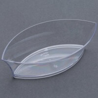 Fineline Tiny Temptations 6207-CL 4 1/4 inch x 2 1/4 inch Tiny Treasures Disposable Plastic Tray - Clear 10 / Pack