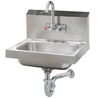 Advance Tabco 7-PS-54 Hand Sink with Splash Mounted Gooseneck Faucet - 17 1/4 inch