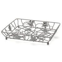 Elite Global Solutions WB12142 14 inch x 12 inch Gunmetal Gray Rectangular Metal Leaf Wire Basket