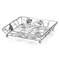 Elite Global Solutions WB12122 Chrome Square Metal Leaf Wire Basket - 12 inch x 12 inch x 2 inch