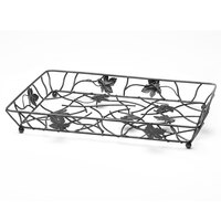 Elite Global Solutions WB12182 Black Rectangular Metal Leaf Wire Basket - 18 inch x 12 inch x 2 inch