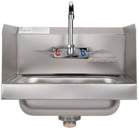 Advance Tabco 7-PS-66W Hand Sink with Splash Mounted Gooseneck Faucet and Side Splash Guards - 17 1/4 inch