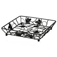 Elite Global Solutions WB12122 Black Square Metal Leaf Wire Basket - 12 inch x 12 inch x 2 inch