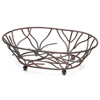 Elite Global Solutions WB1283 12 inch x 8 inch Antique Copper Oval Metal Wire Basket