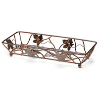Elite Global Solutions WB6142 14 inch x 6 inch Antique Copper Rectangular Metal Leaf Wire Basket