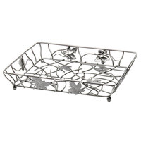 Elite Global Solutions WB12142 Chrome Rectangular Metal Leaf Wire Basket - 14 inch x 12 inch x 2 inch