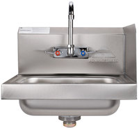 Advance Tabco 7-PS-66R Hand Sink with Splash Mounted Gooseneck Faucet and Right Side Splash Guard - 17 1/4 inch
