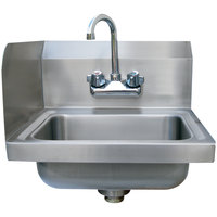 Advance Tabco 7-PS-EC-SPL Hand Sink with Splash Mounted Gooseneck Faucet and Left Side Splash Guard - 17 inch