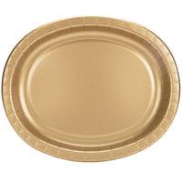 Creative Converting 433276 12 inch x 10 inch Glittering Gold Oval Paper Platter - 96/Case