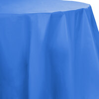 Creative Converting 703258 82 inch True Blue OctyRound Disposable Plastic Table Cover - 12 / Case