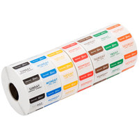 Noble Products 1 inch Dissolvable Day of the Week Dot Labels - 1 Roll of Each Day, 1000 / Roll