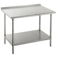 16 Gauge Advance Tabco FAG-247 24 inch x 84 inch Stainless Steel Work Table with 1 1/2 inch Backsplash and Galvanized Undershelf