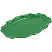Bon Chef 2027 Queen Anne 12 1/2 inch x 16 inch Sandstone Calypso Green Cast Aluminum Oval Platter