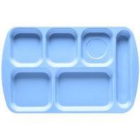GET TR-151 French Blue Melamine 10 inch x 15 1/2 inch Right Hand 6 Compartment Tray - 12 / Pack