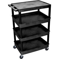 Luxor / H. Wilson TC2111-B Black Heavy Duty Utility Cart with 1 Upper Flat Shelf and 3 Lower Tub Shelves - 24 inch x 32 inch x 44 1/2 inch