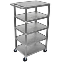 Luxor / H. Wilson BC50-G Gray 5 Flat Shelf Structural Foam Plastic Utility Cart - 18 inch x 24 inch x 46 inch