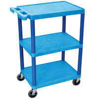 Luxor / H. Wilson HE34-BU Blue 3 Shelf Utility Cart - 18 inch x 24 inch x 32 1/2 inch