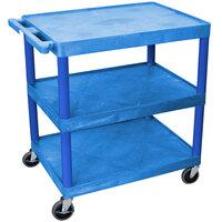 Luxor / H. Wilson HE33-BU Blue 3 Flat Shelf Structural Foam Plastic Utility Cart - 24 inch x 32 inch x 33 1/2 inch