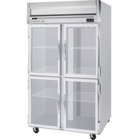Beverage Air HRP2-1HG-LED 2 Section Glass Half Door Reach-In Refrigerator - 49 cu. ft., SS Exterior
