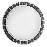 The Jay Companies 13 inch Round Black and White Beaded Glass Charger Plate