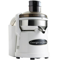 Omega O2110 Compact Juicer with White Finish and Pulp Ejection - 6,200 RPM