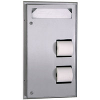 Bobrick B-347 ClassicSeries Partition Mounted Seat Cover Dispenser and Toilet Tissue Dispenser