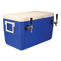 Micro Matic HDCP-D2-48B Blue 2 Faucet 48 Qt. Insulated Jockey Box with 10 inch x 15 inch Cold Plate