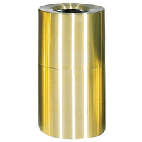 Rubbermaid AOT35 Atrium Satin Brass 2-Piece Round Open Top Aluminum Waste Receptacle 21 Gallon (FGAOT35SB)