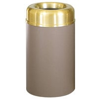 Rubbermaid AOT30 Crowne Textured Brown with Brass Accents Round Open Top Steel Waste Receptacle with Rigid Plastic Liner 30 Gallon (FGAOT30SBBRPL)