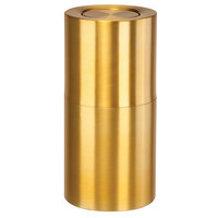 Rubbermaid ATF18 Atrium Satin Brass 2-Piece Round Flip-Top Aluminum Waste Receptacle with Rigid Plastic Liner 18 Gallon (FGATF18SBPL)