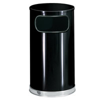 Rubbermaid SO16 European Black with Chrome Accents Round Steel Waste Receptacle with Galvanized Steel Liner 12 Gallon (FGSO1620GLBK)