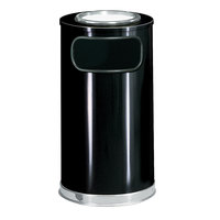 Rubbermaid SO16SU European Black with Chrome Accents Round Steel Waste Receptacle with Galvanized Steel Liner and Sand Urn Cap Ash Tray 12 Gallon (FGSO16SU20GLBK)