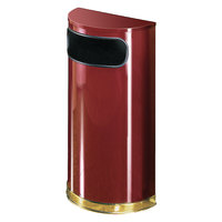 Rubbermaid SO8 European Crimson with Brass Accents Half Round Steel Waste Receptacle with Rigid Plastic Liner 9 Gallon (FGSO810PLCR)