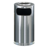 Rubbermaid SO16SU Metallic Round Satin Stainless Steel Waste Receptacle with Galvanized Steel Liner and Sand Urn Cap Ash Tray 12 Gallon (FGSO16SUSSSGL)