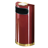 Rubbermaid SO8SU European Crimson with Brass Accents Half Round Steel Waste Receptacle with Rigid Plastic Liner and Sand Urn Cap Ash Tray 9 Gallon (FGSO8SU10PLCR)