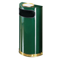 Rubbermaid SO8SU European Empire Green with Brass Accents Half Round Steel Waste Receptacle with Rigid Plastic Liner and Sand Urn Cap Ash Tray 9 Gallon (FGSO8SU10PLEGN)