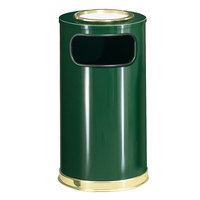 Rubbermaid SO16SU European Empire Green with Brass Accents Round Steel Waste Receptacle with Galvanized Steel and Sand Urn Cap Ash Tray 12 Gallon (FGSO16SU10GLEGN)