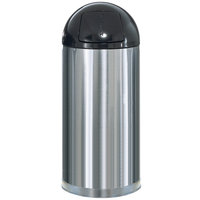 Rubbermaid R1536 Metallic Round Satin Stainless Steel Waste Receptacle with Rigid Plastic Liner 15 Gallon (FGR1536SSSPL)