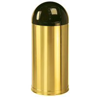 Rubbermaid R1536 Metallic Round Satin Brass Stainless Steel Waste Receptacle with Rigid Plastic Liner 15 Gallon (FGR1536SBSPL)