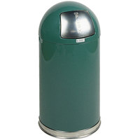 Rubbermaid R1530E Round-Tops Spruce Green Round Steel Waste Receptacle with Galvanized Steel Liner 12 Gallon (FGR1530EGLCOB)