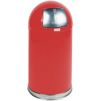 Rubbermaid R1530E Round-Tops Red Round Steel Waste Receptacle with Rigid Plastic Liner 12 Gallon (FGR1530EPLRD)
