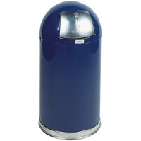 Rubbermaid R1530E Round-Tops Cobalt Blue Round Steel Waste Receptacle with Galvanized Steel Liner 12 Gallon (FGR1530EGLCOB)