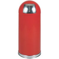 Rubbermaid R1536E Round-Tops Red Round Steel Waste Receptacle with Galvanized Steel Liner 15 Gallon (FGR1536EGLRD)