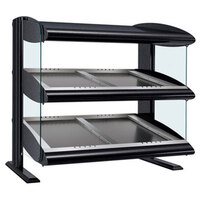 Hatco HZMS-54D Black 54 inch Slanted Double Shelf Heated Zone Merchandiser