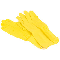 Medium Multi-Use Yellow Rubber Flock Lined Gloves - 12 Pairs / Pack