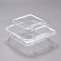 """Dart PET20UT1 StayLock 5 1/4"""" x 5 5/8"""" x 2 3/4"""" Clear Hinged PET Plastic 5"""" Square Container - 500/Case"""