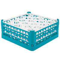 Vollrath 52706 Signature Lemon Drop Full-Size Light Blue 20-Compartment 7 1/8 inch X-Tall Glass Rack