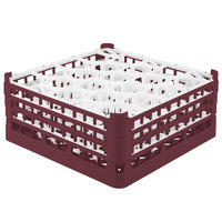 Vollrath 52707 Signature Lemon Drop Full-Size Burgundy 20-Compartment 7 11/16 inch X-Tall Plus Glass Rack