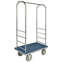 CSL 2000BK-040 Chrome Finish Bellman's Cart with Rectangular Blue Carpet Base, Gray Bumper, Clothing Rail, and 5 inch Gray Polyurethane Casters - 43 inch x 23 inch x 72 1/2 inch